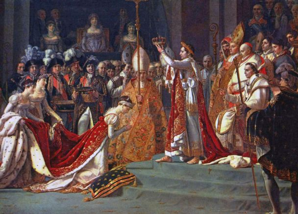 """The crowning of Empress Joséphine, from """"The Consecration of the Emperor Napoleon I and Coronation of the Empress Joséphine in the Cathedral of Notre-Dame de Paris on 2 December 1804"""", painted by Jacques-Louis David. source: Wikipedia"""