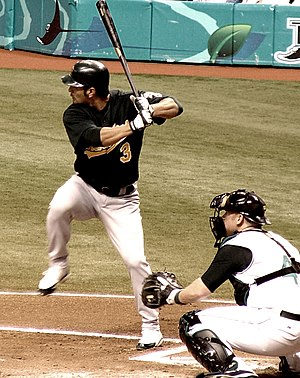Eric Chavez about to swing, May, 2005. Photo b...