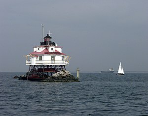 English: The Thomas Point Shoal Lighthouse in ...