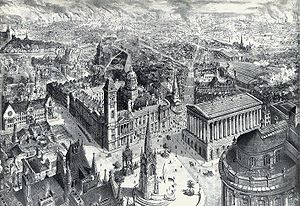 Drawing of Birmingham from 1886 showing the Co...