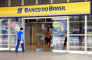 Entrance to a Banco do Brasil branch.