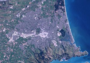 Satellite image showing Christchurch and surro...
