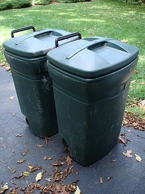 green household trash bins, United States