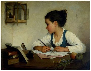 Browne, Henriette - A Girl Writing; The Pet Goldfinch - Google Art Project
