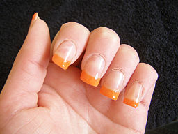 Bright orange nail tips