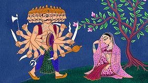 English: Ravana approaches Sita during her cap...