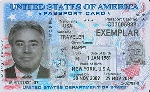 English: Specimen of the U.S. passport card, i...