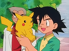 Pok    mon   Wikipedia Ash Ketchum holding Pikachu in the pilot episode   Pok    mon  I Choose You