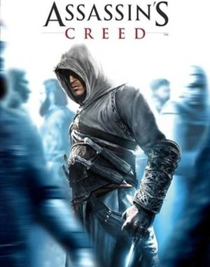 Assassin's Creed cover. A man in a white hooded coat among a blue-tinted unfocused crowd of people. The hidden blade is extending from his wrist.