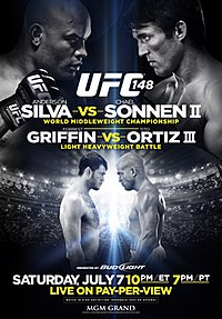 A poster or logo for UFC 148: Silva vs. Sonnen II.