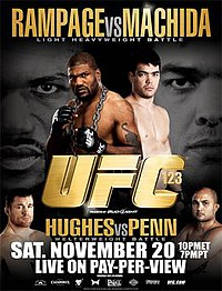 A poster or logo for UFC 123: Rampage vs. Machida.