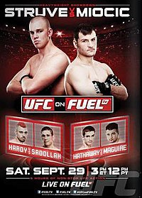 A poster or logo for UFC on Fuel TV: Struve vs. Miocic.