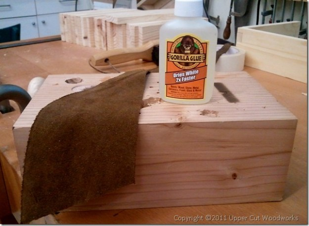 Upper Cut Woodworks Suede and Gorilla Glue for Grammercy Holdfasts