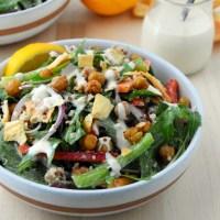 Mediterranean Salad with Crispy Garlic Chickpeas