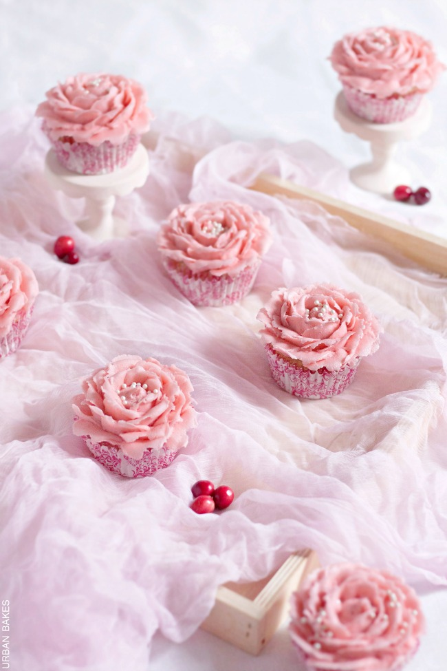 White Chocolate Cupcakes with Cranberry Frosting | URBAN BAKES