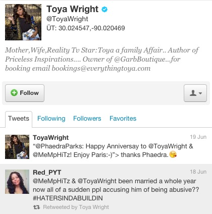 toya wright tweet k. michelle