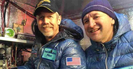 A photo provided by Tami Bradley-Two Eagles Balloon Team, shows pilots from left, Troy Bradley of Albuquerque, N.M., and Leonid Tiukhtyaev of Russia, before their liftoff in a gas balloon in Saga, Japan. (AP)