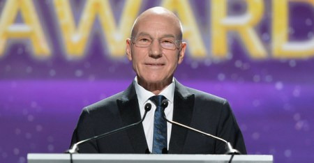 Actor Patrick Stewart speaks onstage at the 2015 Writers Guild Awards L.A. Ceremony at the Hyatt Regency Century Plaza on February 14, 2015 in Century City, California. (Alberto E. Rodriguez/Getty Images North America)
