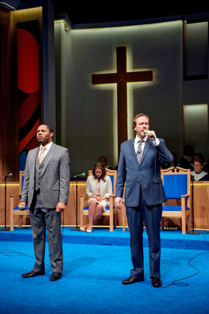 """Larry Powell, left, and Andrew Garman in """"The Christians."""" (Michael Brosilow)"""