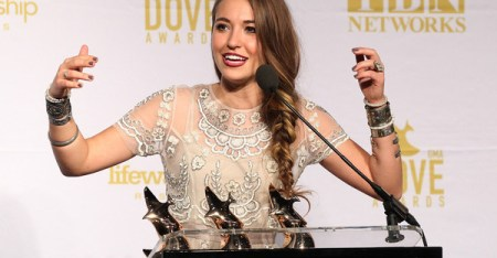 Lauren Daigle speaks in the press room during the 2015 Dove Awards at Allen Arena, Lipscomb University on October 13, 2015 in Nashville, Tennessee. (Terry Wyatt/Getty Images North America)