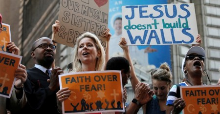 Protesters outside of a meeting with conservative Christian leaders in New York City. (Brendan McDermid / Reuters)