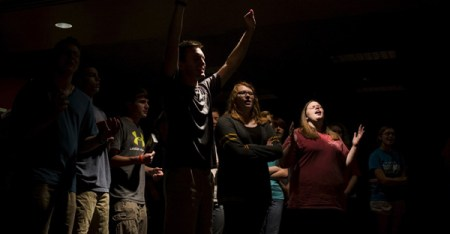 Students attend a Baptist Campus Ministry service at Western Kentucky University in Bowling Green. (Brittany Greeson / Reuters)