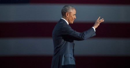 U.S. President Barack Obama walks on stage to deliver his farewell speech at McCormick Place on January 10, 2017 in Chicago, Illinois. Obama addressed the nation in what is expected to be his last trip outside Washington as president. President-elect Donald Trump will be sworn in as the 45th president on January 20. (Darren Hauck/Getty Images North America)