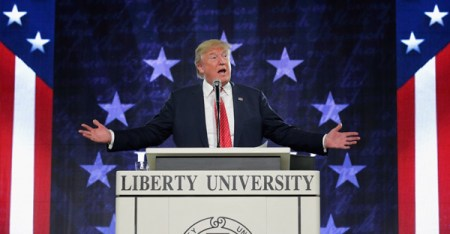Donald Trump delivers the convocation at Liberty University in Lynchburg, Va. (Chip Somodevilla/Getty Images)