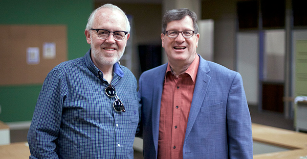 """Best-selling author, Lee Strobel, right, and writer, Brian Bird on set of """"The Case for Christ,"""" coming to theaters April 7, 2017. (Photo courtesy of Pure Flix Entertainment)"""