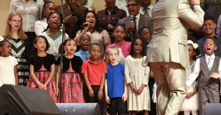 Members of the children's choir at Shiloh Metropolitan Baptist Church perform on stage during the morning service January 22. 2017. (Bob Self/For The Washington Post)