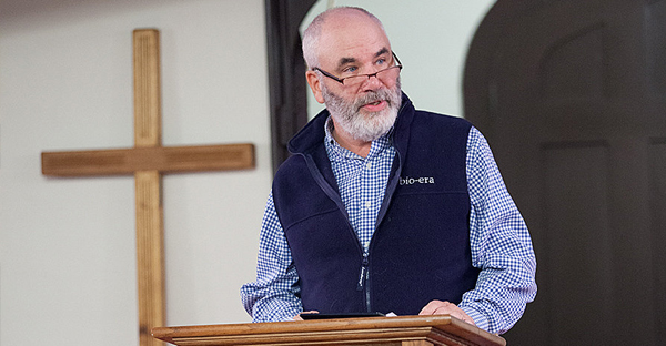Stephen Aldrich, a lay church member, delivers a sermon about his mission trip to North Dakota during a Sunday service at Christ Episcopal Church in Bethel, Vt. (Melanie Stetson Freeman/Staff)