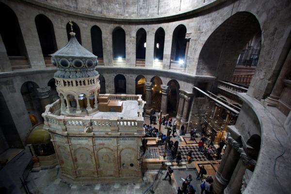The ornate shrine known as the Edicule encloses what is believed to be the tomb of Jesus Christ inside the Church of the Holy Sepulchre in Jerusalem. The shrine has just undergone a year-long restoration. (PHOTOGRAPH BY ODED BALILTY, AP FOR NATIONAL GEOGRAPHIC)