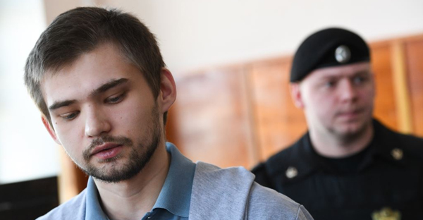 Ruslan Sokolovsky attends a court hearing in Yekaterinburg on March 15.