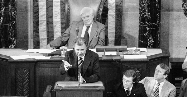 Oral Roberts speaks on the floor of the House of Representatives in Washington during a Flag Day ceremony, June 14, 1978. (John Duricka / AP)