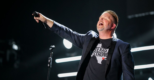 MercyMe's Bart Millard performs at the 48th Annual GMA Dove Awards on October 17, 2017 in Nashville. Photo: Grant Exline