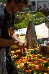 Nico Fini prepares the selection of veges | Urban Escargot Wedding Catering