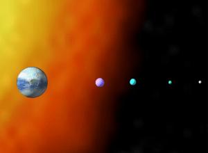 Darkover e le sue lune. Da sinistra: Liriel, Kyrrdin, Idriel, Mormallor