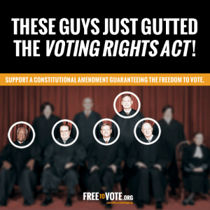 the voting rights act under the united states constitution One of the most important rights of american citizens is the franchise — the right  to vote originally under the constitution, only white male citizens ove   however, in every state except north dakota, citizens must register to vote, and  laws.