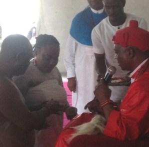 Olorogun Emmanuel Okpako Ganiga, national president, UPU, UK and his wife, Chief(Mrs.) Helen Linda Ganiga being conferred chieftaincy titles of Obakore and Rhie Oghene of Agban Kingdom by HRM Ukori 1, Ogurimerime, Ovie of Agbon Kingdom