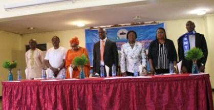 NIMASA DG Dakuku Peterside (Centre on dark suit) at Rock View Apapa, Lagos yesterday