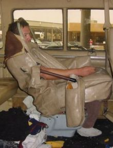 Mexican national Enrique Aguilar Canchola sewn  sewn into a vehicle seat
