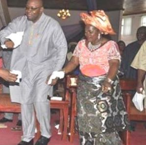 Bayelsa State Governor, Sseriake Dickson celebrating with his wife....File Pics