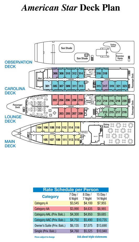 American Star 2016 Deck Plan