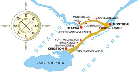 Canada's Capital Two River Cruise Itinerary Map, from Kingston to Ottawa, or reverse, on the Ottawa and St. Lawrence Rivers.