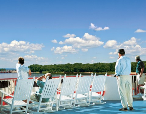 Relax on the rocking chairs on deck as you watch the shoreline alongside the Mississippi River go by. Rock on the deck as you float on the Mississippi River. Enjoy the breeze from the Mississippi River on your full Mississippi cruise.