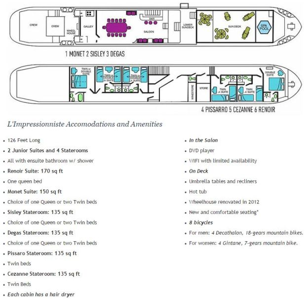 The Deck Plan, Accomodations and Amenities for the European Barge, L'Impressionniste in Southern Burgundy region