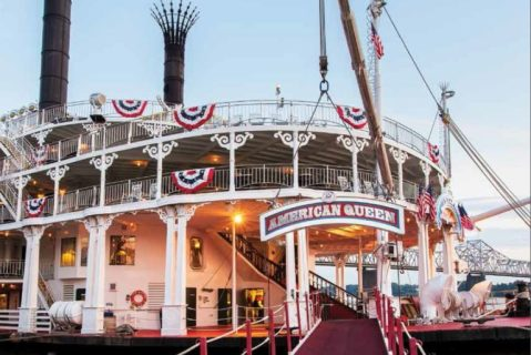 American Queen paddlewheel docked and ready to cruise the Mississippi River.