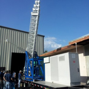 Portable mobile towers on trailers