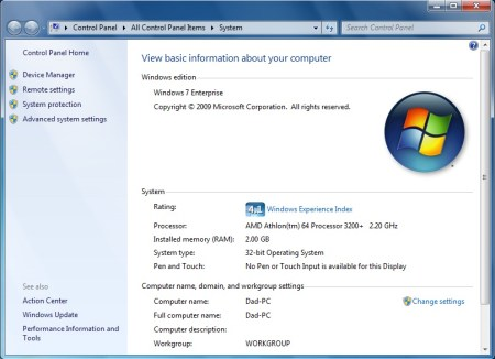 Asus KV8 SE Deluxe running Windows 7