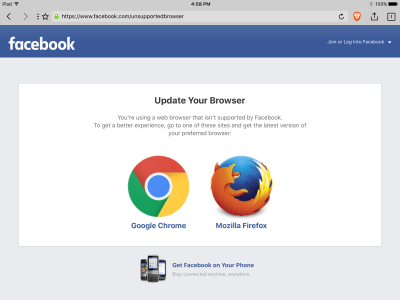 Facebook displays a warning (indicates Brave is an unsupported browser) · Issue #1042 · brave ...